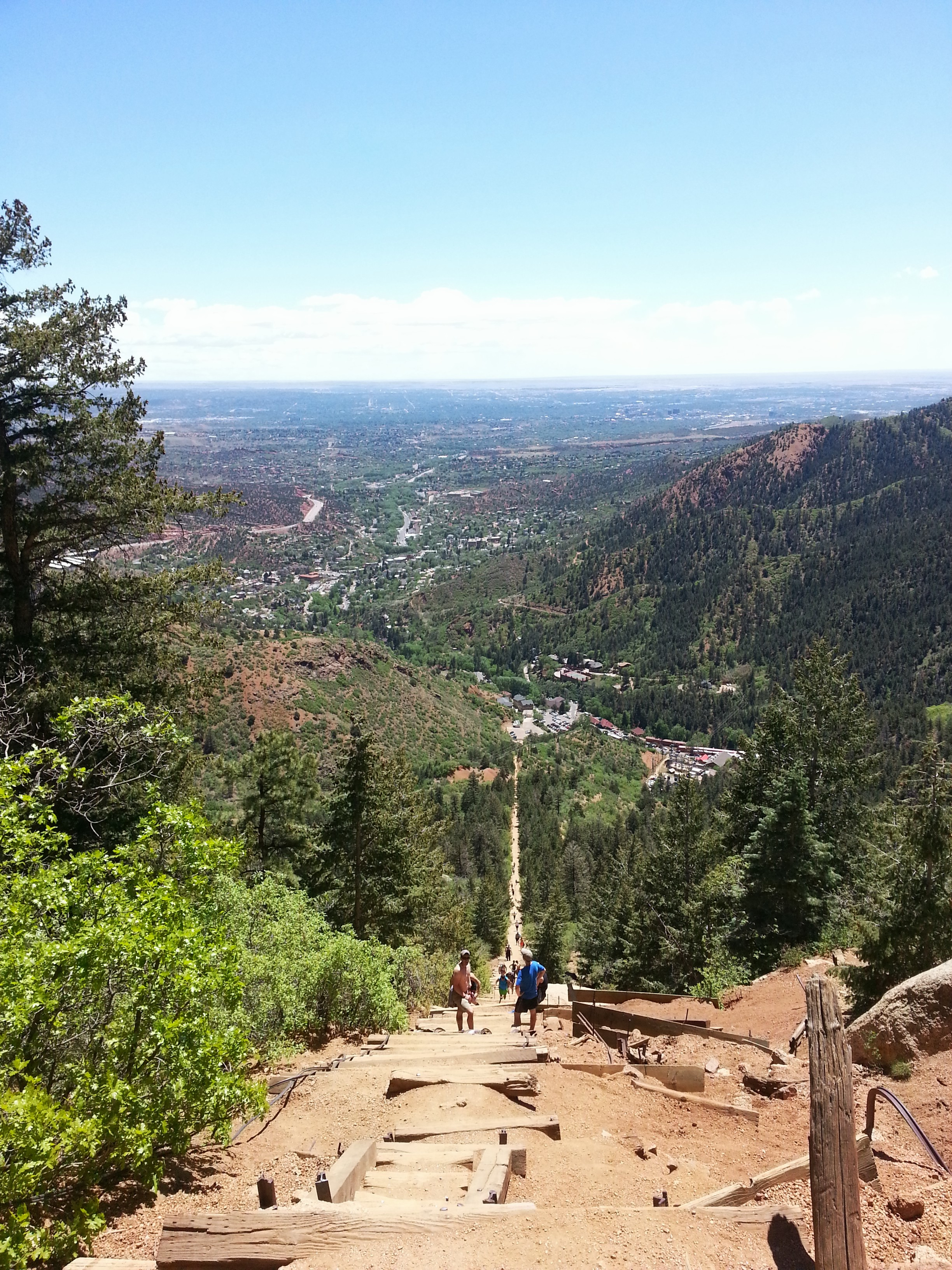 The Manitou Springs Incline is about.88 miles (1.42 km)., starts at 6,500 feet (2,000 m) with its Peak @ 8,590 feet (2,620 m).  An immense and rewarding challenge. At the  start point there is a sign stating: Extreme Hike. I think it should read - Extreme exhilaration. Ultimate view. Exceeding expectation. Intrinsic Insight.